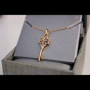 NEW Zales Rose Gold Key Necklace